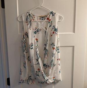 Liberty Love Drapey White & Floral Tank Blouse